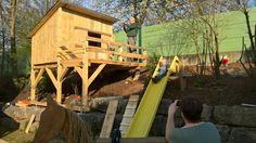 Kinderspielhaus am Hang Bauanleitung zum selber bauen