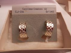 """Vintage Signed Carol Jane Creations Silver Plated """"Hammered"""" Hoops/Huggie Clip-On Earrings-app. 1/2"""" by myTreasuresCove on Etsy"""