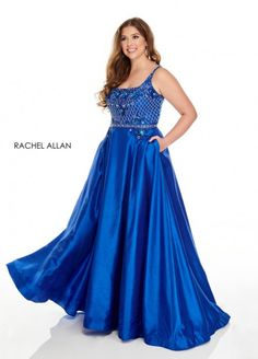 Style 7234 from Rachel Allan Curves is a plus size shantung ballgown that has a beaded bodice and pockets.