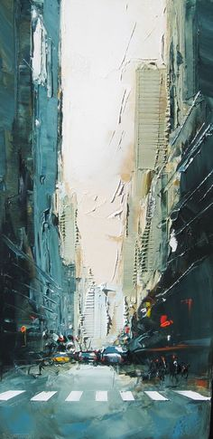 Art inspo: painting/ palette knife painting. City/ scenery. Abstract.