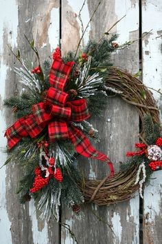 grapevine wreath Love the plaid ribbon!