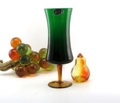 Rossini Empoli Art Glass Retro Modern Vase with Label