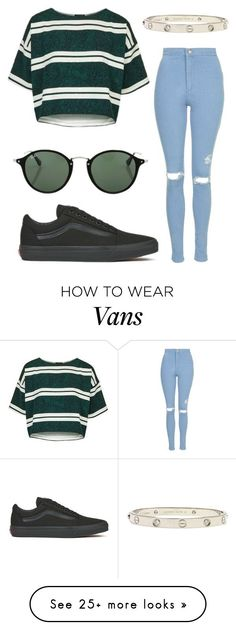 """""""#No name"""" by eemaj on Polyvore featuring Topshop, Vans, Ray-Ban and Cartier High Waisted Distressed Jeans, High Waist Jeans, Canvas Sneakers, Cartier, Style Me, Topshop, Vans, Fashion Looks, Shoe Bag"""
