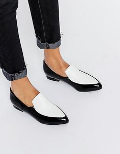London Rebel Point Loafers Monochrome loafers, in love with them. Shoes by  London Rebel Polished leather-look ...