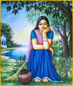 """krishnaart: ♥ SHRI RADHA ♥""""O Shrimati Radharani, I offer my respects to You whose bodily complexion is like molten gold. O Goddess, You are the queen of Vrindavana. You are the daughter of King Vrishabhanu, and are very dear to Lord Krishna. Indian Women Painting, Indian Art Paintings, Krishna Painting, Krishna Art, Hare Krishna, Krishna Leela, Art Drawings For Kids, Art Drawings Sketches, Rajasthani Painting"""