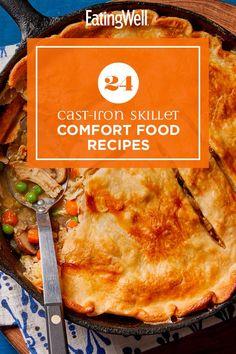 Grab your cast-iron skillet and make one of these warming and delicious recipes. From breakfast to dinner to dessert, these comforting dishes are perfect when you want something familiar. Recipes like Cast-Iron Skillet Pizza with Red Peppers, Chicken & Spinach and Peanut Butter-Chocolate Chip Skillet Cookie are comfort food at its best. #comfortfood #healthyrecipes #healthycomfortfood #healthyrecipes Cast Iron Skillet Pizza, Cast Iron Cooking, Skillet Chocolate Chip Cookie, Skillet Cookie, Ranch Chicken Casserole, Skillet Chicken, Healthy Dinner Recipes, Delicious Recipes, Yummy Food