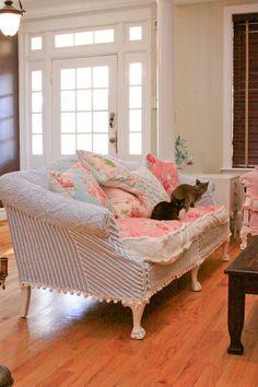 vintage chenille slipcovered sofa