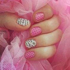 Jamberry nail wraps Rosy Quatrefoil & Word to the Wise  Click the picture to order this mani!