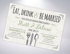 Rehearsal Dinner Invitation Postcard Optional by TheDesignBrewery