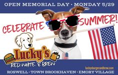 SUMMER'S UP! Celebrate at your favorite neighborhood #BurgerandBrew! Grab the kids, pals and pups and head over to Lucky's Burger & Brew Brookhaven for award-winning #Burgers, ice-cold #brews, #wings, #salads, #apps and MORE! check our full menu online www.luckysburgerandbrew.com and make it a #HappyGoLuckys SUMMER!