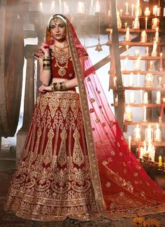 Browse our latest collection of designer lehenga choli. Order this imperial embroidered, patch border and resham work velvet a line lehenga choli.