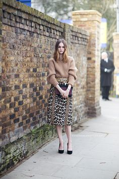 Sweater, two leopard prints skirt.