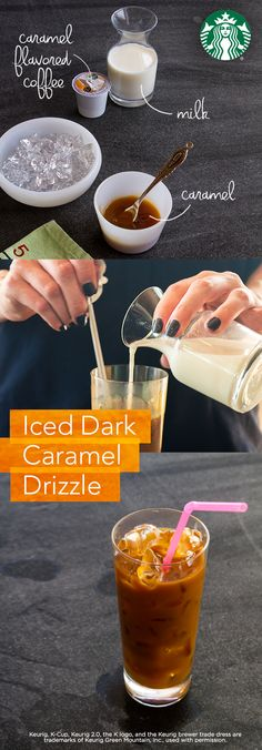 Brew 6 fl oz of Starbucks Cinnamon Dolce flavored ground coffee (or K-Cup pods) double-strength. Coat a 12 oz glass with caramel syrup. Add hot coffee. Stir in 3 fl oz of reduced fat (2%) milk. Fill with ice. Drizzle extra caramel syrup on top.