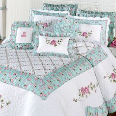 Wake in your very own Rose Garden with this quilted oversized bedspread. The cotton/polyester Grande Bedspread features rose and vine embroidery,. Table Of Contents Design, Small Garden Tools, Designer Bed Sheets, Shabby Chic Pillows, Rustic Stone, Garden Signs, Duvet, Bedding, Bed Spreads