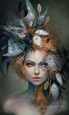 "@Morgan McPoland this should be your Tempest getup! 1) It's got peacock stuff in it (""her peacock flies amain..)  2) red curly hair! 3) well.. just look at it.."