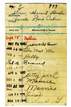 How we checked out library books in my day! Signed the card in the pocket and date stamped when it was due!