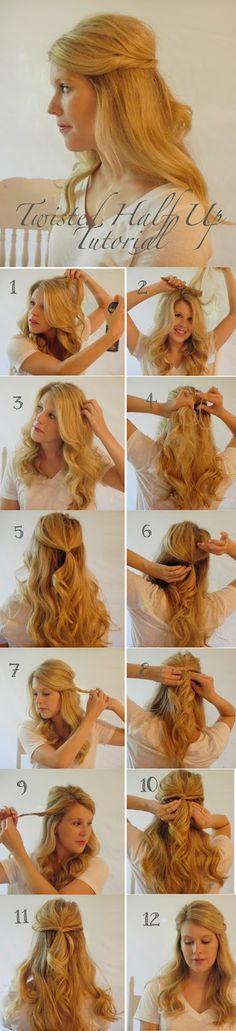 Twisted Half Up Hair Tutorial