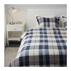 KUSTRUTA Duvet cover and pillowcase(s), blue check - blue check - Full/Queen (Double/Queen) - IKEA
