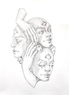 Original Portrait Drawing by Mary M Dark Art Drawings, Pencil Art Drawings, Art Drawings Sketches, Drawings On Hands, Drawing With Pencil, Drawings Of Faces, Skeleton Drawings, Dark Art Illustrations, Hand Drawings