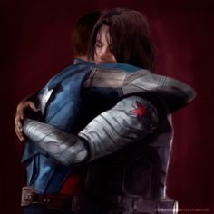 Frozen Bros hug!! Steve and Bucky need to have a movie of the two of them trying to figure out what all the modern references are.