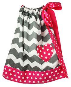 Gray Chevron with Hot Pink and White Polka Dot Trim Pillowcase Dress!