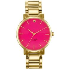 kate spade new york 'gramercy grand' bracelet watch, 38mm Gold/ Pink ($169) ❤ liked on Polyvore featuring jewelry, watches, bracelets, accessories, kate spade, pink bracelet, bracelet watches, gold wrist watch, gold bracelet and kate spade jewelry
