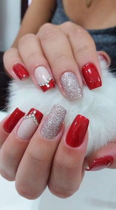 37 Shinning and Beautiful Christmas Nails You Have to See nails, nail design, Ch. - Nail Art Design : 37 Shinning and Beautiful Christmas Nails You Have to See nails, nail design, Ch. Xmas Nails, Holiday Nails, Christmas Nails, Pink Nails, Valentine Nails, Reindeer Christmas, Valentines, Square Nail Designs, Red Nail Designs