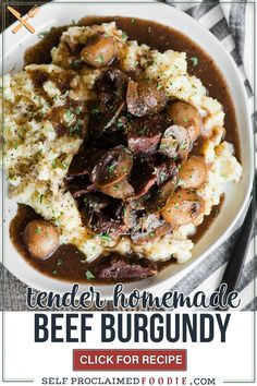 Beef Burgundy is an easy dinner recipe that can be made in the slow cooker, an Instant Pot, or on the stovetop. This savory succulent red wine stew is filled with tender pieces of beef, mushrooms, pearl onions, and fresh herbs. This recipe is easy enough to make for a busy weeknight dinner and fancy enough to serve when entertaining guests.