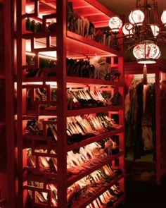 Shoes in Dita Von Teese's closet.