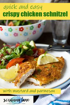This delicious mustard parmesan crispy chicken is an even easier and tastier version of chicken schnitzel. Ready in just 15 minutes! Stove Top Recipes, Easy Meat Recipes, Easy Delicious Recipes, Healthy Recipes, Midweek Meals, Easy Weeknight Dinners, Quick Meals, Potted Meat Recipe, Chicken Schnitzel