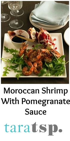 Moroccan spiced shrimp with tangy, sweet and rich pomegranate molasses as a dipping sauce makes for an elegant appetizer.