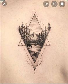 Geometric Tattoo Landscape, Geometric Tattoo Nature, Geometric Mountain Tattoo, Geometric Sleeve Tattoo, Tattoo Sleeve Designs, Tattoo Designs Men, Sleeve Tattoos, Forearm Tattoos, Arm Band Tattoo
