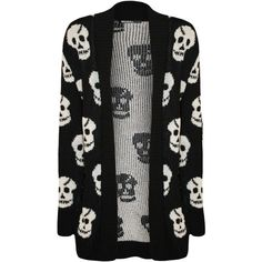Katerina Skull Open Knitted Cardigan ($21) ❤ liked on Polyvore featuring tops, cardigans, jackets, outerwear, sweaters, black, black skull cardigan, print cardigan, skull top and black cardigan