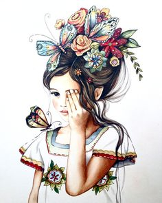 Original art work flowers in her hair.. por PrintIllustrations, $400.00 ACRILICO Y LAPICES