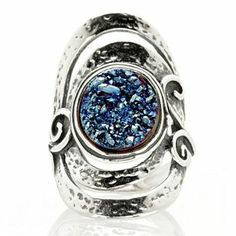 Or-Paz Druzy Quartz Elongated Ring Sterling Silver