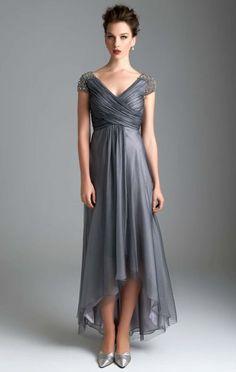 A-Line Princess V-neck Asymmetrical Tulle Evening Dress With Ruffle ... 6e43ffc371b7