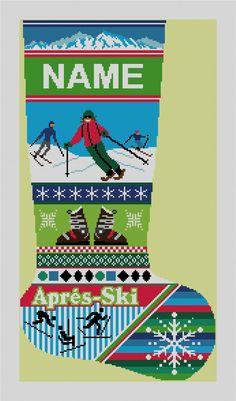 Winter Ski Christmas Stocking #Needlepoint Canvas | NeedlePaint.com