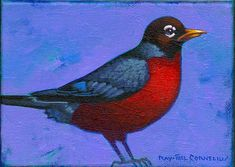 """""""Small Robin"""" 5 by 7 inches acrylic on canvas Private collection"""