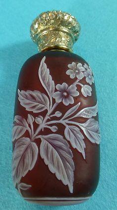 Victorian Sterling Silver Gilt Thomas Webb Cameo Glass Perfume Bottle 1884