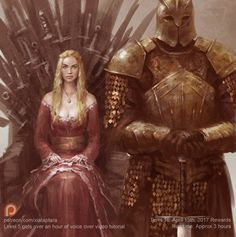 Cersei and the mountain, Xia Taptara - 黃曉聲 on ArtStation at https://www.artstation.com/artwork/b3awn