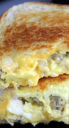 I figured the best way to start off grilled cheese month would be with a delicious sausage and egg grilled cheese! All that you need for this recipe is breakfast sausage, eggs, milk, American cheese, bread and butter.