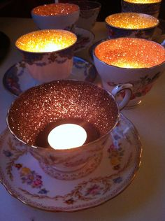 Glitter Tea Cups use Flameless tea lights...great for Mothers Day Decor! |Pinned from PinTo for iPad|