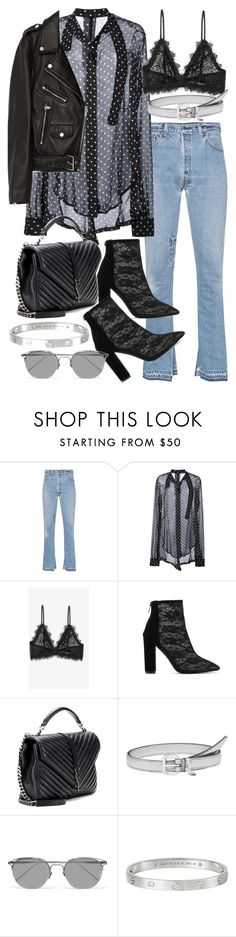 """Untitled #20747"" by florencia95 ❤ liked on Polyvore featuring RE/DONE, Unravel, Anine Bing, Yves Saint Laurent, Miu Miu, Linda Farrow, Cartier and Jakke"