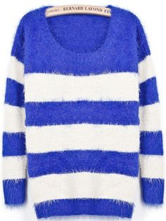 Blue White Striped Loose Mohair Sweater US$31.15