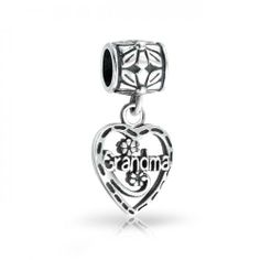 Bling Jewelry Grandma Vintage Heart 925 Sterling Dangle Bead Pandora Compatible