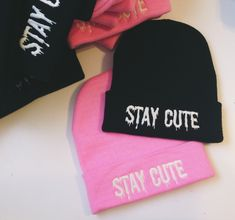 Embroidered Stay Cute beanies <3 Stay-Cute.com