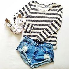 #stripes + #cutoffs + converse.