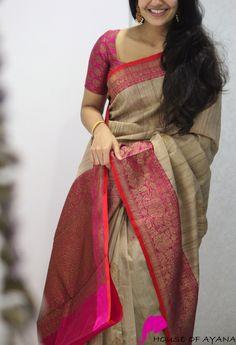 Product Details: Saree: Banaras tussar silk with zari weaving all overBlouse: Brocade silk (as shown in last image) Gadwal Sarees Silk, Silk Saree Kanchipuram, Banaras Sarees, Jamdani Saree, Pochampally Sarees, Indian Silk Sarees, Soft Silk Sarees, Bengali Saree, Sabyasachi Sarees