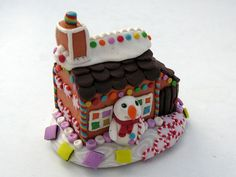 Candy cabin miniature polymer clay gingerbread