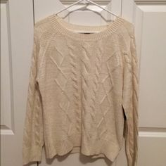White and Gold Sweater Super comfy and soft sweater! Never worn before. BB Dakota Sweaters Crew & Scoop Necks
